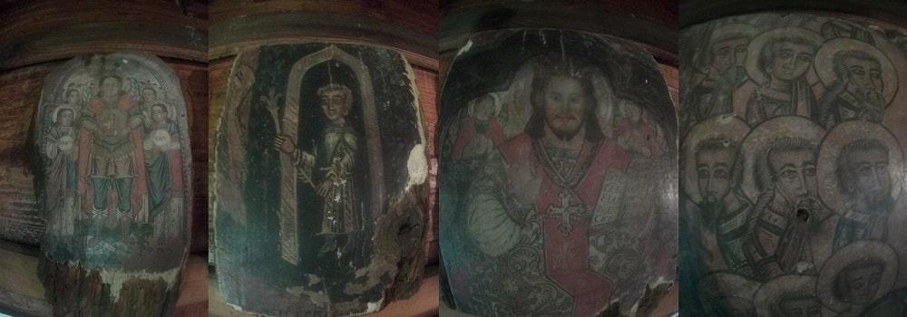 Ikony, święte obrazy malowane na drewnie, zazwyczaj wystrój cerkwi. N zdjęciu cztery ikony stanowiące wystrój bacówki Bartne.