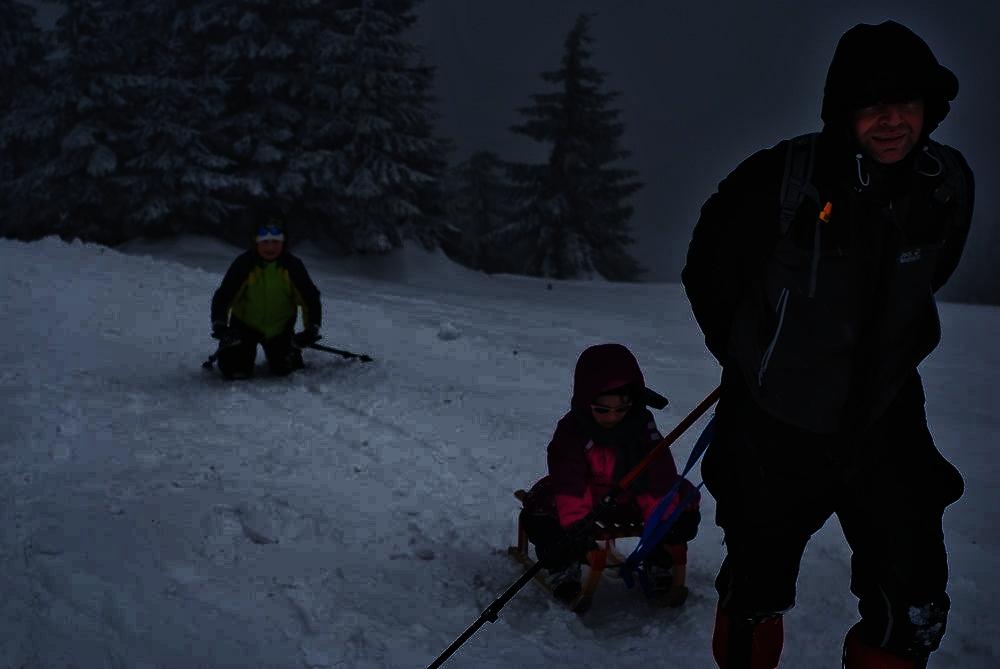 Jest noc. Mężczyzna ciągnie dziecko na sankach. za nimi w tyle chłopiec na kolanach z kijkami w rękach. Wszystko dzieje się na śniegu w towarzystwie choinek
